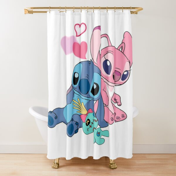 stitch and angel love shower curtain by tepperp123 redbubble