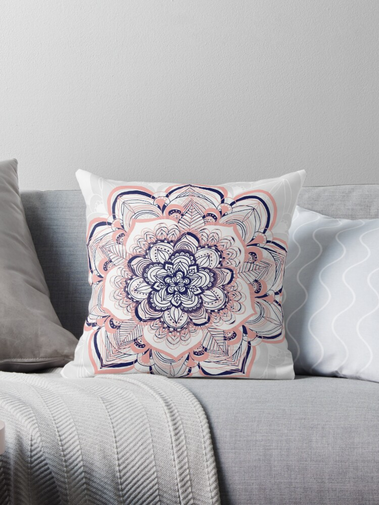 woven dream pink navy white mandala throw pillow by tangerine tane redbubble