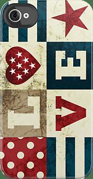 Cute Patriotic 'Love America' iphone 4/4s case at redbubble