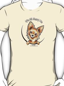 Long Haired Chihuahua :: It's All About Me Shirt. It's all about the long haired Chihuahual! Original illustration by Andie of Off-Leash Art. Andie captures the unique characteristics of each dog breed using indian inks, art markers and colored pencils for a fun, whimsical look.