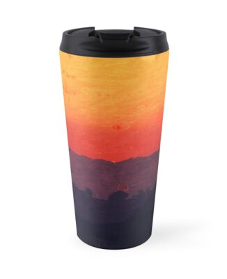 Five Shades of Sunset Painting Travel Mug by stine1 on Redbubble