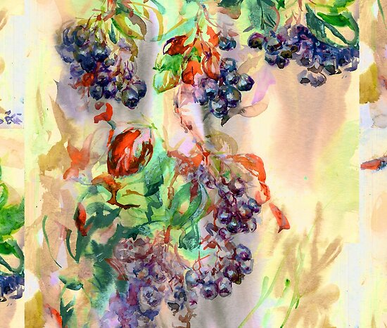 Purple Chokeberry in Watercolor by Linandara