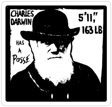 Charles Darwin Has A Posse stickers
