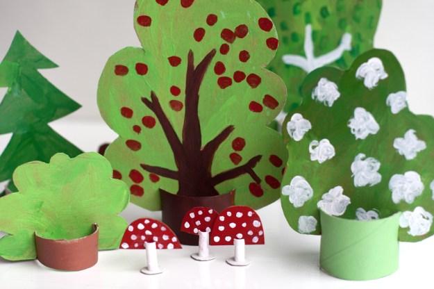 Картонный лес для детей2