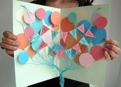 Оригинальная открытка с воздушными шариками своими руками