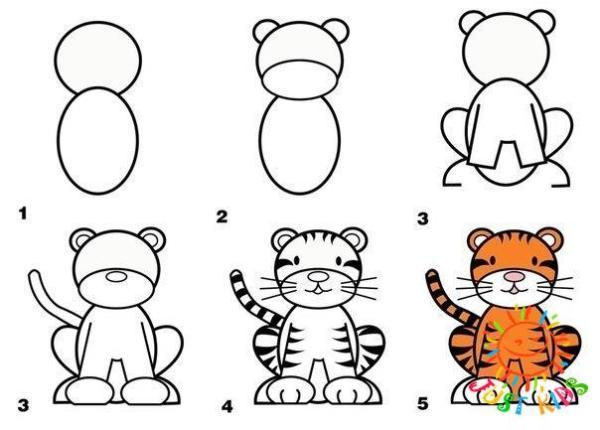 рисуем тигренка