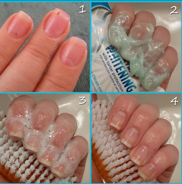 читим ногти зубной пастой