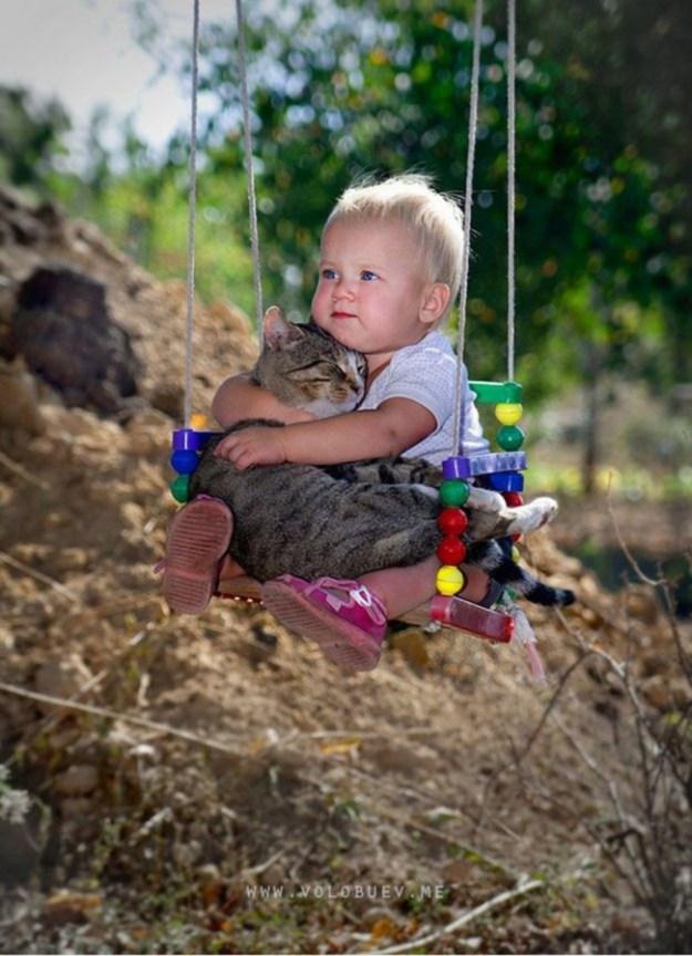 кот и мальчик