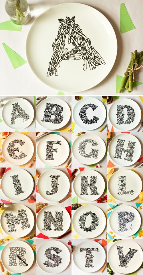 Тарелки с буквами