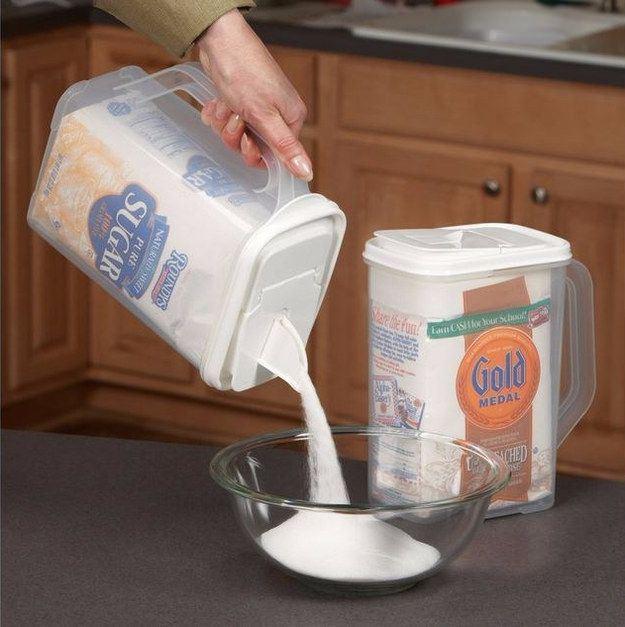 Удобные емкости для хранения муки и сахара