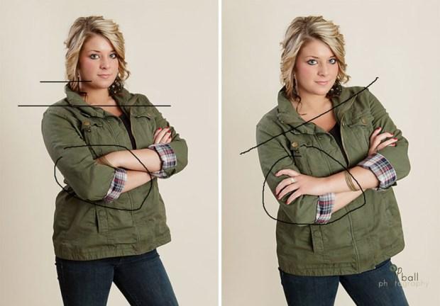 Чтобы выглядеть на фото непринужденно и ярко, просто скосите плечи. Линия плеч должна быть параллельной линии бедер. Разница видна сразу