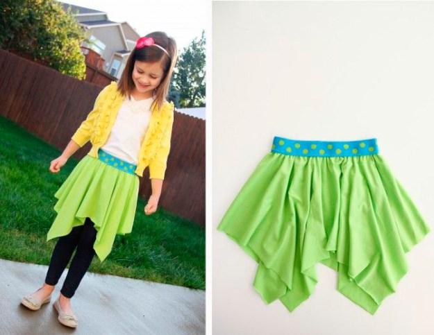 Два ярких квадрата ткани и резинка - и милая юбка для дочки готова2