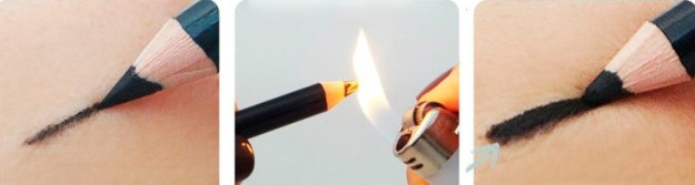 Если карандаш для глаз тяжело наносится из-за своей твердости, подержите его над огнем несколько секунд