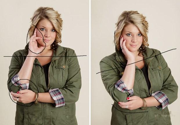 Если уж вы и решили фотографироваться с руками около лица, то ладонь НЕ должна смотреть на объектив. Следите за положением рук, чтобы они не закрывали ваше лицо