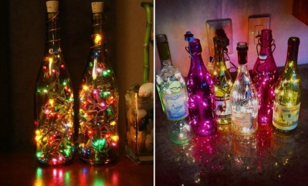Гирлянды, обмотанные вокруг бутылок с напитками придадут атмосфере сказочности