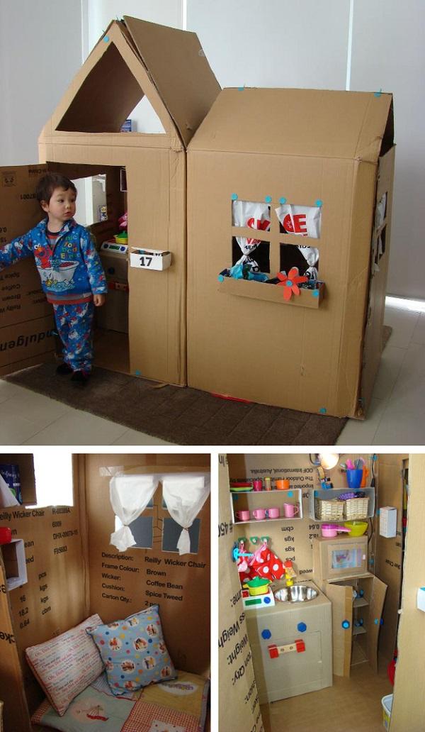 Из больших коробок можно сделать настоящий домик для ребенка