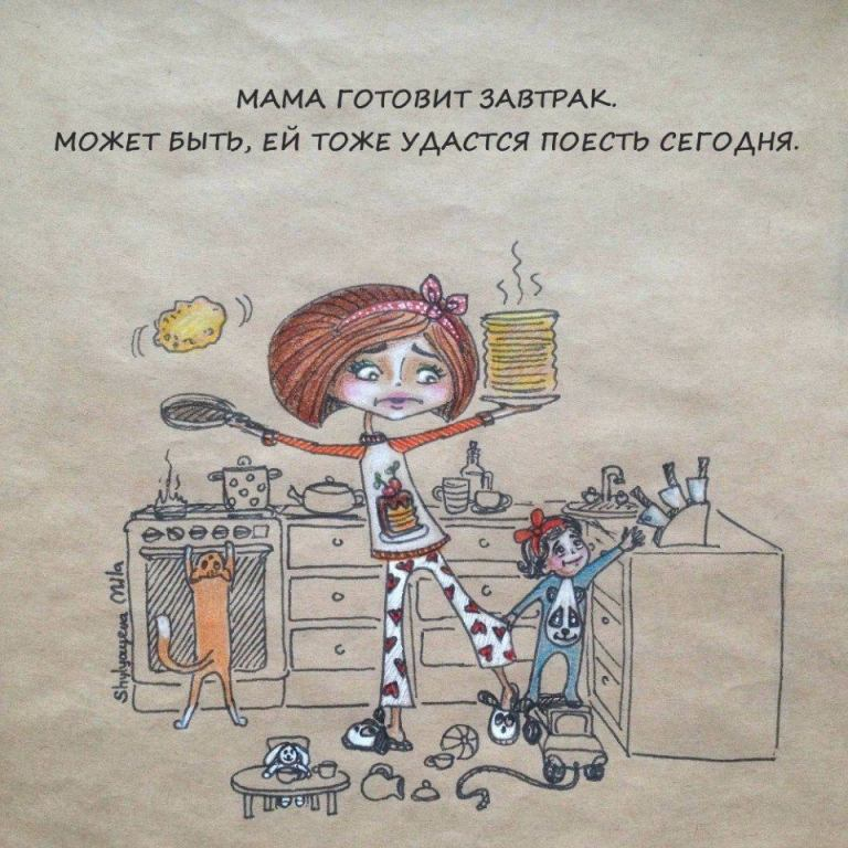 Прикольные рисунки про маму, днем рождения
