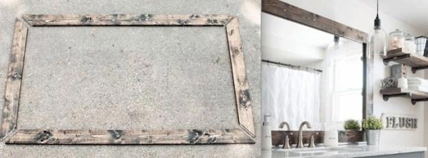 Или сделайте прямоугольному зеркалу деревянную рамку