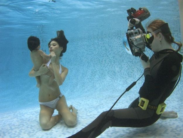 процесс съемки под водой