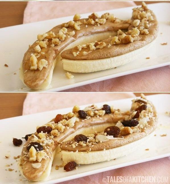 Банан, арахисовая паста, мед и орехи