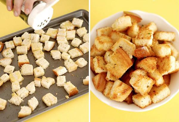 Если остается не очень свежий хлеб, сделайте из него крутоны - соленые гренки со специями
