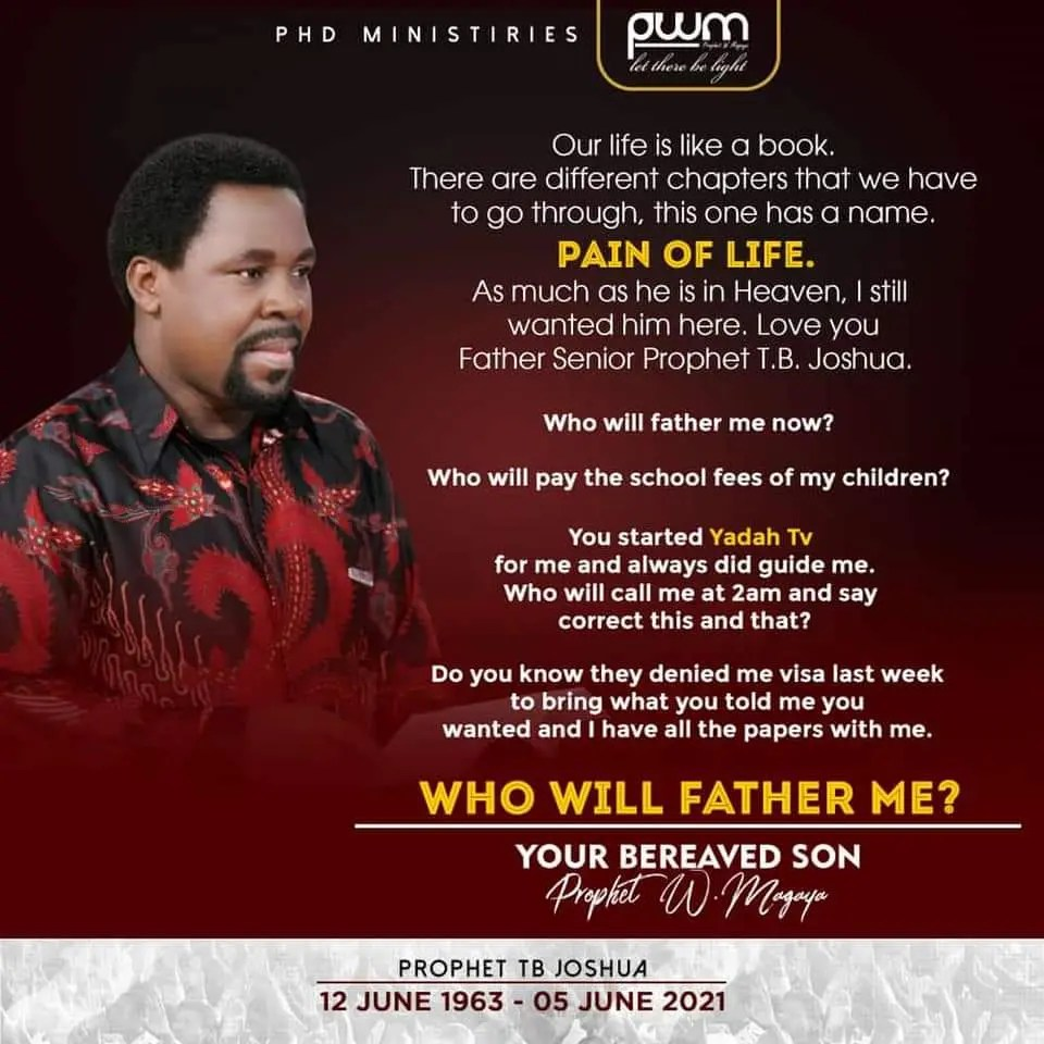 """""""Who Will Father Me""""- Prophet Magaya Mourns TB Joshua"""
