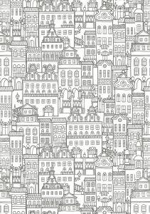 Раскраски антистресс Города и Дома для взрослых ...