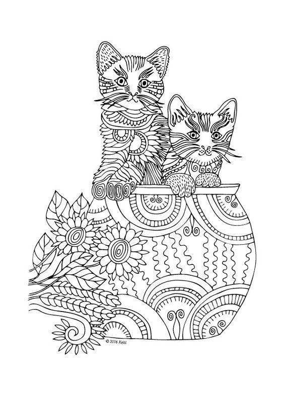 котята и кошки раскраска