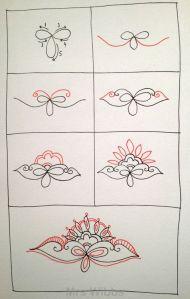 Зентангл узор цветы шаг за шагом