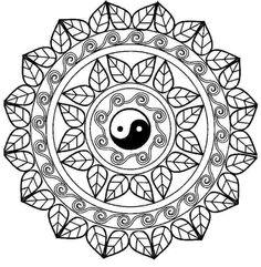 Мандалы раскраски для женщин Инь Ян