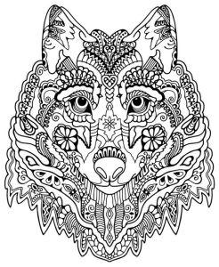 Картинки антистресс для раскрашивания - волк