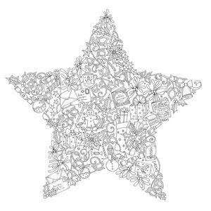 раскраска антистресс новогодняя звездочка