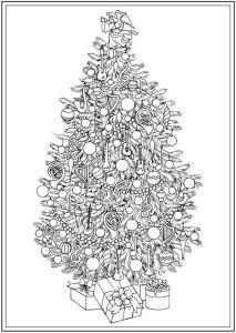 раскраска антистресс украшенная новогодняя елочка