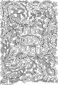 Раскраски с надписями на английском. Думай счастливые мысли