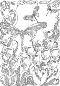 раскраска для девочек цветы и бабочки