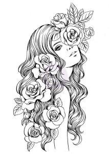 Раскраска девушка с длинными волосами