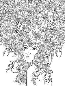 Раскраска девушка весна