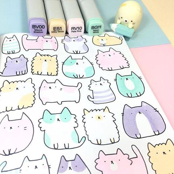 легкие рисунки коты