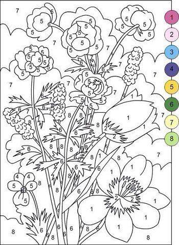 Раскраска по номерам цветы