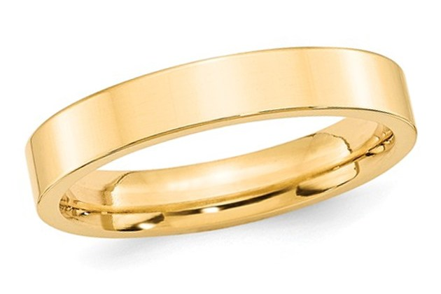 Mens 14K Yellow Gold 4mm Flat Comfort Fit Wedding Band – 13 for $669