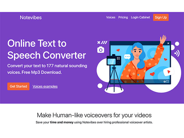 Notevibes Text to Speech Personal Pack: Lifetime Subscription for $69