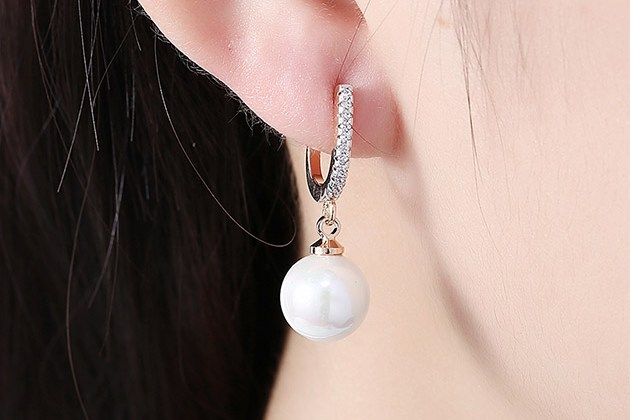 18K Gold Plated Earrings with Faux Pearl & Micro-Pave Swarovski for $10
