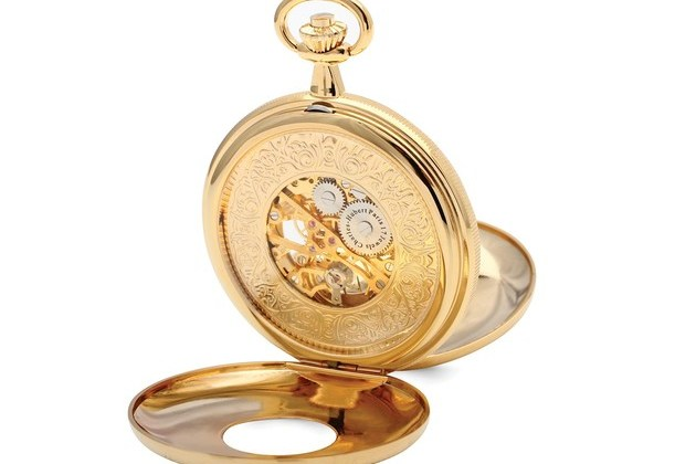 Charles Hubert Gold Finish White Dial Skeleton 50mm Pocket Watch for $128