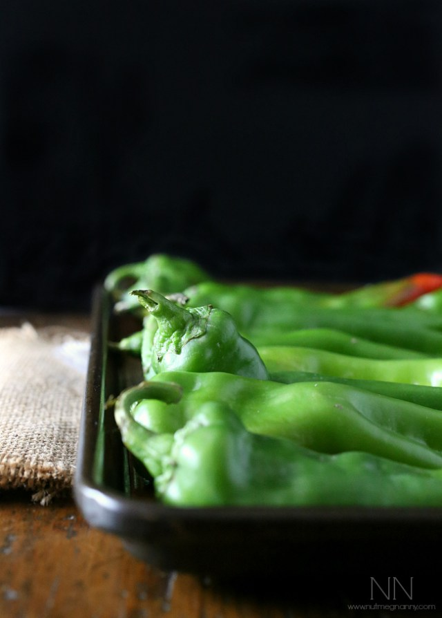 hatch chiles on a roasting tray
