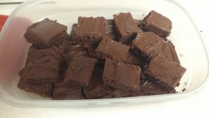 Here are the brownies after cutting them and removing them.  Easy as pie!