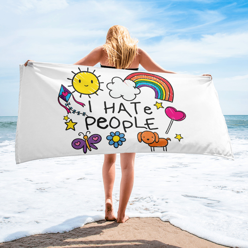 I Hate People Child's Drawing Beach Towel