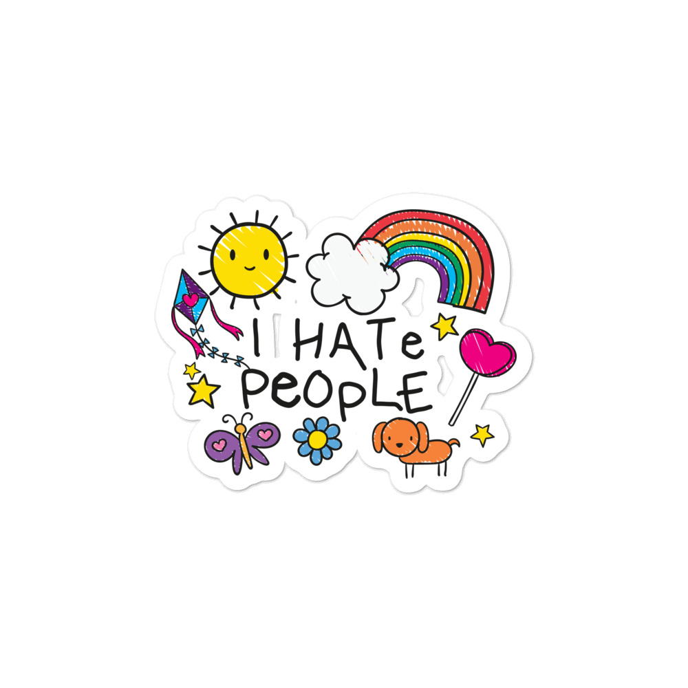 I Hate People Child's Drawing Sticker
