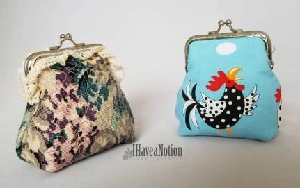 2 coin purses from different fabrics