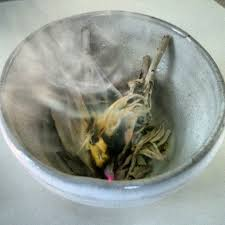 photo of burning sage