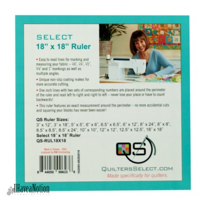 Quilters Select 18 1/2 inch square ruler lable
